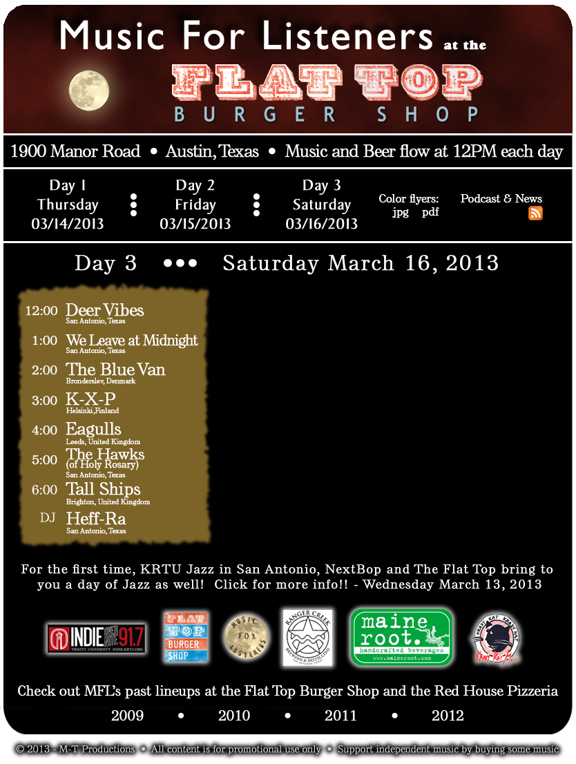 Music For Listeners at the Flat Top - Day 03 - Saturday March 16, 2013